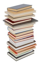 Image of a stack of books against a white backdrop