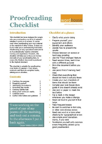 Cover page of our eight-page Proofreading checklist