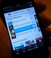 Image of a smartphone displaying iTunes University app